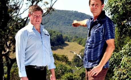 Pryors Rd residents Brett Leckie (left) and Adam Kane concerned about the proposed quarry.