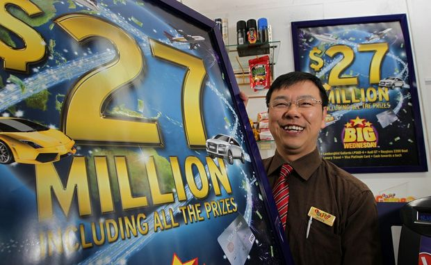 Jensen Zeng pictured in his shop in central Tauranga. He sold the winning $27 million Big Wednesday ticket. 