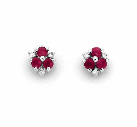 Pascoes 9ct White Gold Ruby & Diamond Studs, $275