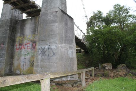 SHELTER: The swing bridge in Queen Elizabeth Park where Ben Hawea, 19, had been sleeping until his arrest on Saturday.