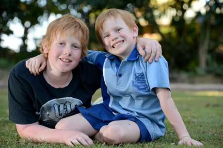 12 year old cancer survivor Jackson Attwood making the most of life. Pictured with with his younger brother Cooper. Photo:Warren Lynam / Sunshine Coast Daily