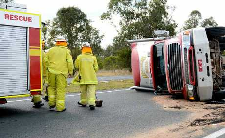 This semi overturned on the Warrego Hwy at Haigslea yesterday.
