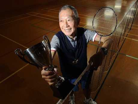 Jimmy Lim is all smiles after winning a fourth national masters badminton 70-plus singles title.