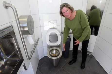 UNIMPRESSED: Masterton's Lorraine Crothers says the state of the new Kuripuni toilet last weekend was not a good look for the town. The unisex toilet had since been cleaned by Masterton District Council.