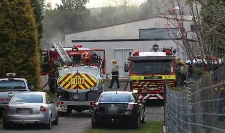 Fire crews attend to a fire at a venison factory on Pyes Pa Rd.