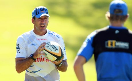 Richard Graham instruct his players during a Western Force Super Rugby training session at UWA Sports Park on January 10, 2011 in Perth, Australia.