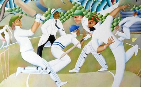PASSES TEST: The painting by John Campbell that is a finalist in the Cricket Awards.