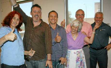NEW LINE-UP: Six of the Byron Shire's councillors (from left) Rose Wanchap, Paul Spooner, Sol Ibrahim, Diane Woods, Alan Hunter and Chris Cubis celebrate their election.