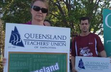 Rozlyn Goodwin (front) protests with other teachers yesterday.