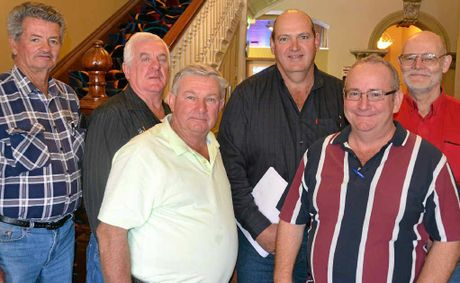 Trevor Aspinall, Garry Hanson, Don Browne, new president Ross Bell, Steve McDonald and Peter Pickering after the Condamine Sports Club AGM.