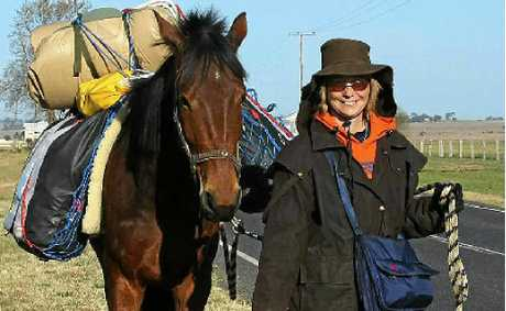 Maricy Dalsanto, with Lucky the horse and Della the dog, leaves Killarney last Sunday morning on a 5000km walk from Coraki to Dampier in Western Australia.