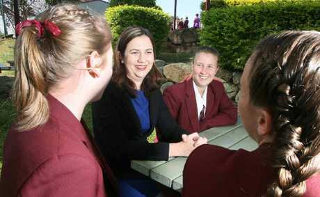 Opposition Leader Annastacia Palaszczuk chats with students from her former school, St Marys.