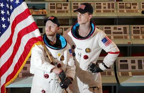 Actors Sam Berkley and Ben Van Lier as American astronauts in the upcoming play Apollo 13 at the Hawke&#39;s Bay Opera House, Hastings.