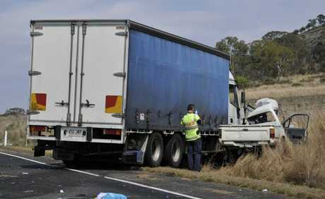 A YOUNG man has died after the ute he was driving collided head-on with a truck on the New England Hwy, south of Toowoomba.