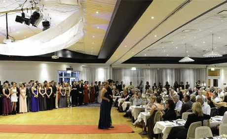 A panorama of the room at the Yamba Bowling Club filled to capacity for the Maclean High School formal.