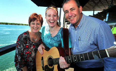 FEELING FESTIVE: Mayor Deirdre Comerford, musician Rachel Geddes and Councillor Chris Bonanno at Bluewater Quay for the official launch of this year's River 2 Reef festival at Bluewater Quay.