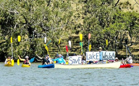 The Friends of Lake Weyba make their position known last Sunday.
