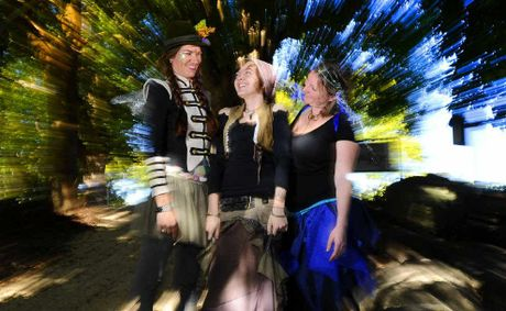 Natalie Meenatti Petty, Frankie Stone and Kellie Boulton in faerie mode in preparation for today.