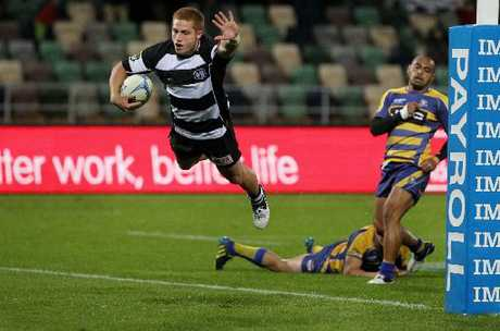 Hawke's Bay Magpies Ihaia West scoring the match-winning try to clinch a nail-biting victory over the Steamers at McLean Park, Napier.  Duncan Brown