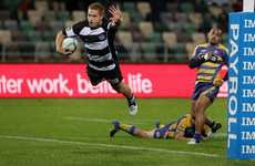 Hawke's Bay Magpies Ihaia West scoring the match-winning try to clinch a nail-biting victory over the Steamers at McLean Park, Napier, last night.