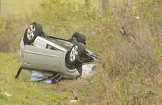 A car on its roof 200 metres north of the BP Tornik on the Pacific Highway at South Grafton Photo Adam Hourigan / The Daily Examiner