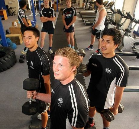Front L-R Sheridan Rangihuna, Zane Crook, and Tamati Samuels, Back L-R Elijah Martin, Sean Borlace, Aaron McPhee, and Levi Guildford, new Hawkes Bay Magpies rugby players, pictured at the Magpies gym in Onekawa, Napier.