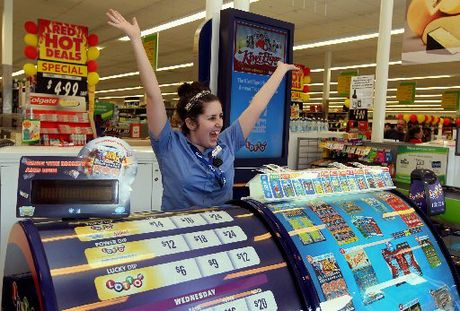 WINNING SMILE: Jodie Pothoven, Lotto assistant at Countdown Carlyle, Napier, shows her delight after the store sold a winning $2 million first division Lotto ticket in Saturday's draw. PHOTO/DUNCAN BROWN HBT120268-01