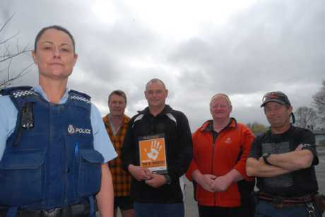 STOP THIEF: Masterton police Senior Sergeant Carolyn Watson and Masterton school caretakers John McCann (left), Dave Sayer, Blue Hansen and Dave Henwood at the Wairarapa launch of the BNZ Safer Schools Programme.