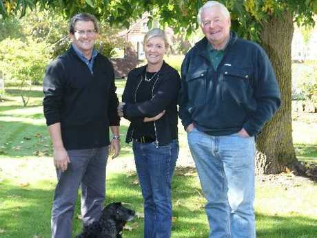CJ Pask directors John Benton (left), Kate Radburnd and Chris Pask are joined by Albert the dog.