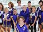 Fraser Coast Outriggers' junior squad: (From left, rear) Ebony Andersen, Sarah Gormley, Teotimi Patara, Thomas Key and Mitchell Andersen. (From left, middle row) Grace Berkhout, Lachlan Key, Emily Wallis, Mereana Patara, Mia Hikawai. (Front) Laura Key.