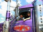 Ryan & Luke Johnston in Hernes Freight Services distinctive purple Western Star driven by father Shane.