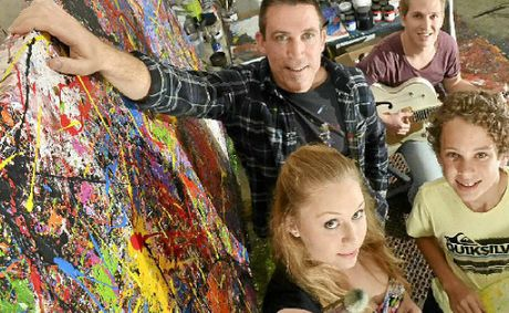 Artist David Hart with his children Jake (rear), Chloe and Harry.