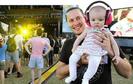Rob Burr with his daughter Aylah enjoyed the Caloundra Music Festival in 2011.