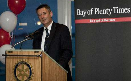 Tauranga mayor Stuart Crosby speaks at the Bay of Plenty Times 140th birthday celebrations, at the Tauranga Club, Devonport Hotel. Photo / Joel Ford