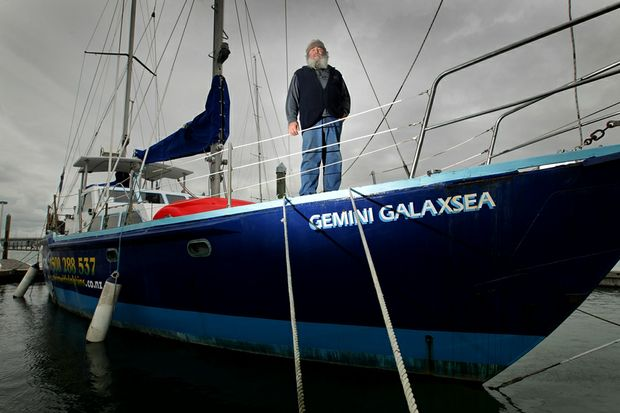 Graeme Butler pictured aboard his boat, Gemini Galaxsea, in Tauranga Harbour.