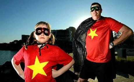 Grace and Dave Williams at Jack Evans Boat Harbour on Superhero day.