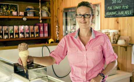 NOMINEE: Vivienne Coleman serves up one of Flaggy Rock Tourist Stop's famous homemade ice creams. The business will represent the Mackay region at the 2012 Queensland Tourism Awards in November.