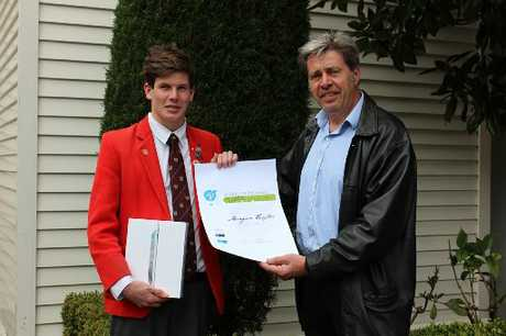 Design competition Hawke's Bay winner Morgan Taylor with EIT lecturer Jerry Gull.