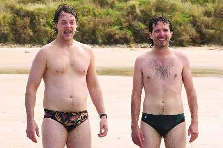 Deano (Hamish Blake, left) and Nige (Bret Mckenzie) in Two Little Boys.