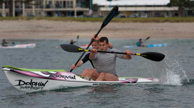 BOP Spring Series organiser Scott Bicknell duels with Sam Shergold during the ski race at the recent Winter Series.