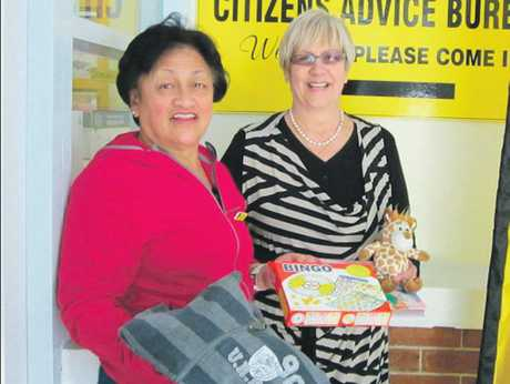 Millie Diack (left) from Napier Citizens Advice and Women's Refuge acting manager Lynne Gibson with a sample of some of the donated items they're hoping to see more of.