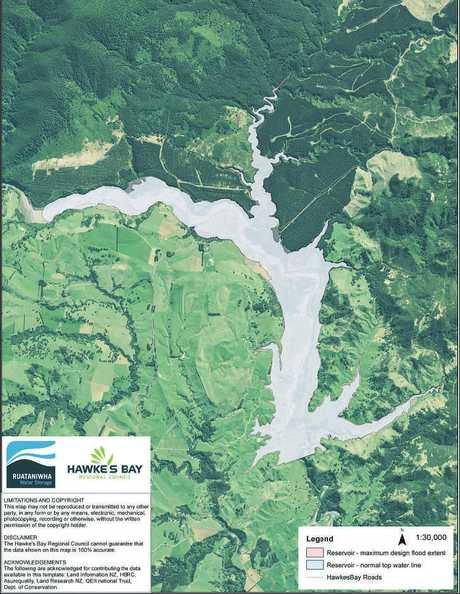 A concept plan shows the extent of a reservoir on the Makaroro River.
