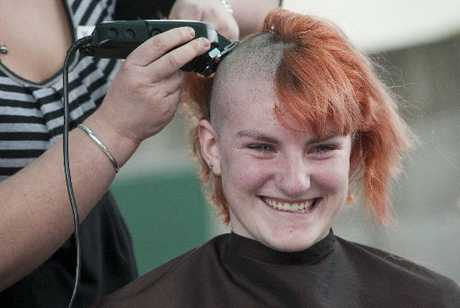 It was an emotional moment for Zoe Mayhew as her head was shaved yesterday to raise money for Canteen.