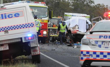 Five people believed to be from Brisbane have lost their lives in a horror crash on the Bruce Hwy north of Howard on Sunday afternoon.