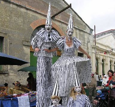Stilt-walkers at the Victorian Fete.