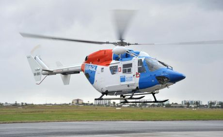 AGL Action Rescue Helicopter taking off from the Sunshine Coast Airport.