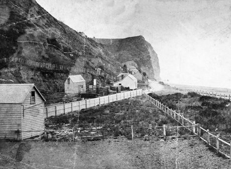 YEAR OF WATER SUPPLY: Bluff Hill in 1876. PICTURE SUPPLIED BY THE ALEXANDER TURNBULL LIBRARY HTTP://TIMEFRAMES.NATLIB.GOVT.NZ/