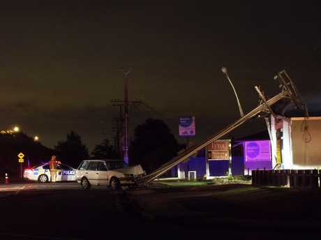 A car crashed into a power pole on Farm Street.
