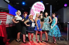 These ladies took part in the pin-up pageant held at the Hotel Metropole on Saturday night that Cassandra Jackson (centre in hat) organised.