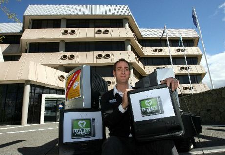 SWITCHED OFF: Hastings District Council waste minimisation officer Dominic Salmon is urging owners of old TVs to recycle their sets. PHOTO/GLENN TAYLOR HBT123952-04